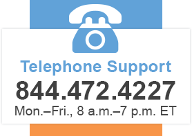 Telephone Support - 844.472.4227